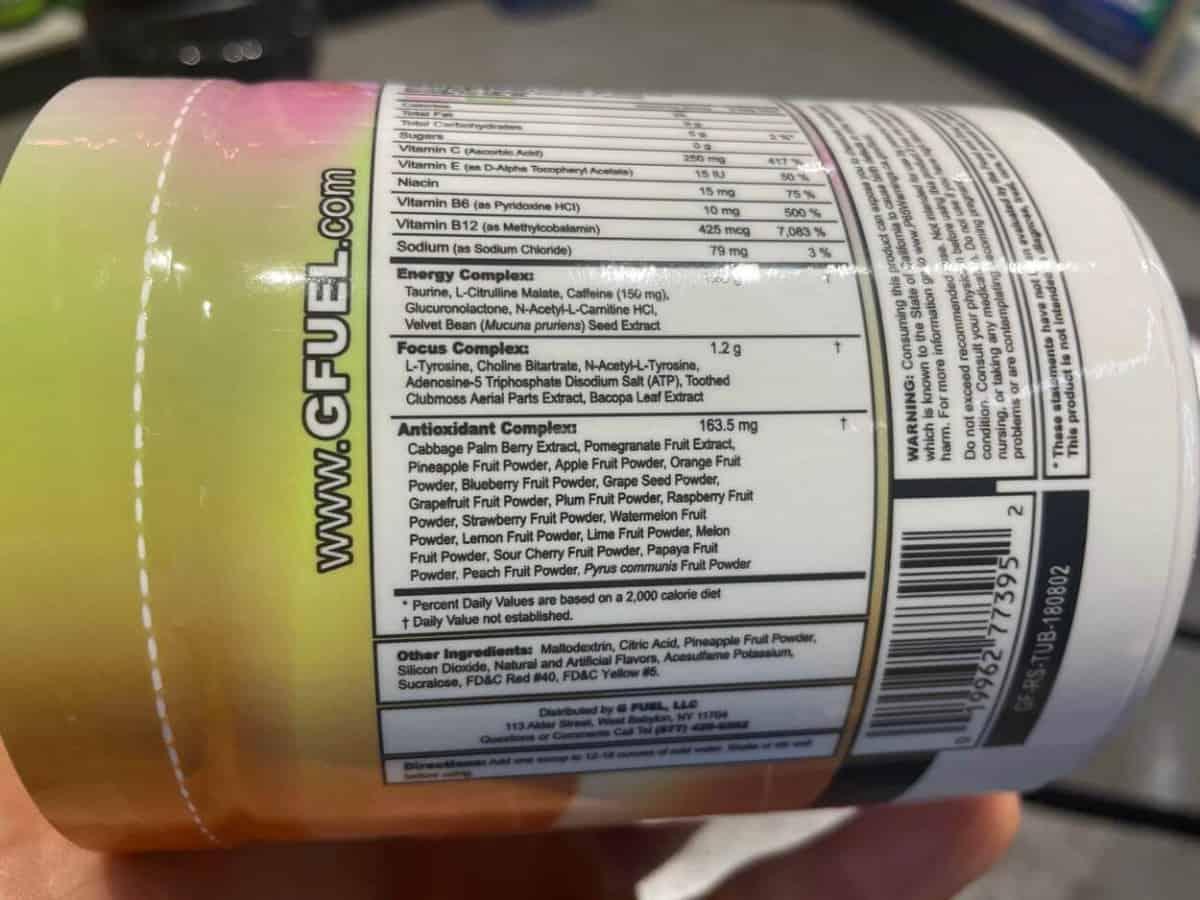G Fuel Powder Ingredient List
