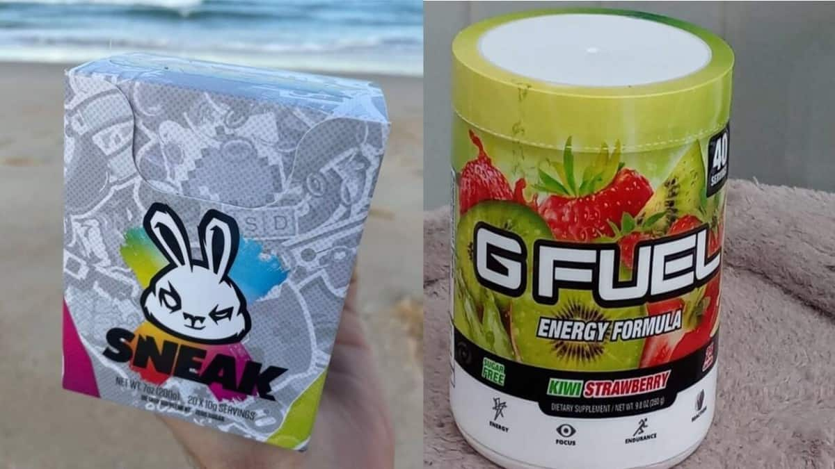 A tub of G Fuel Powder and a pack of Sneak Energy