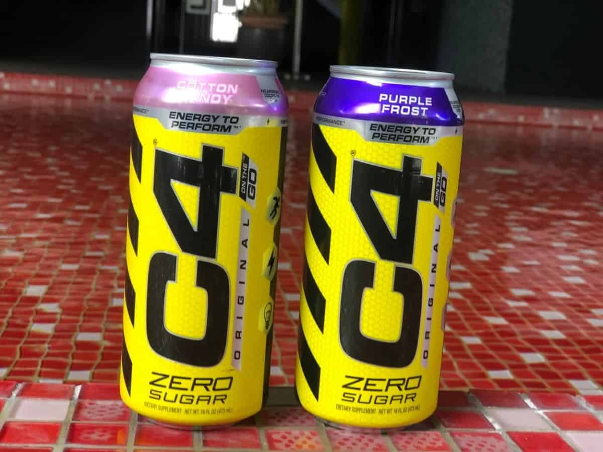 Two cans of C4 energy drink