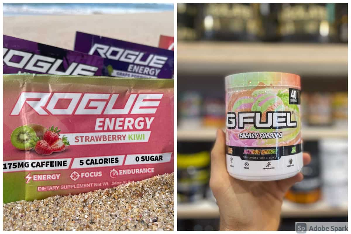 Rogue Energy Sachet, G Fuel Powder tub