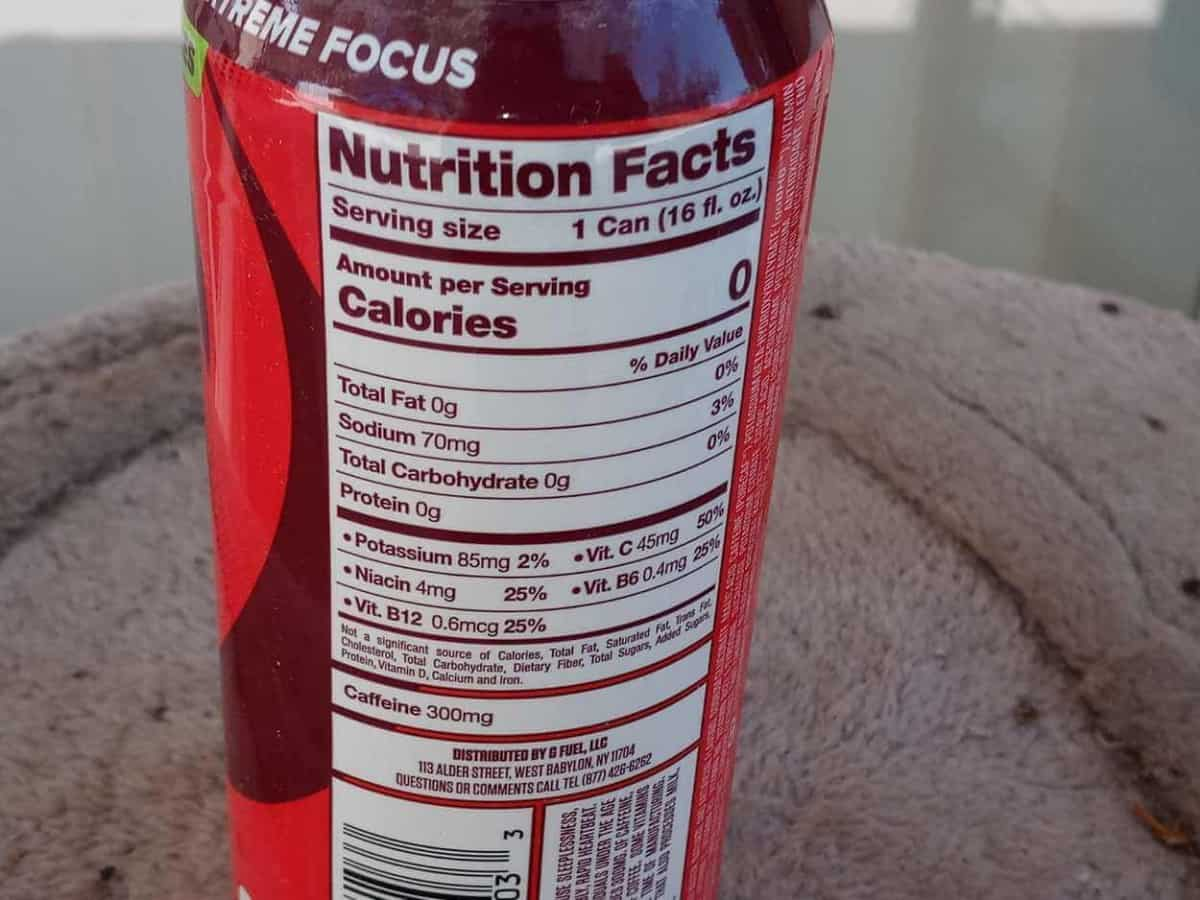 energy drink can, label