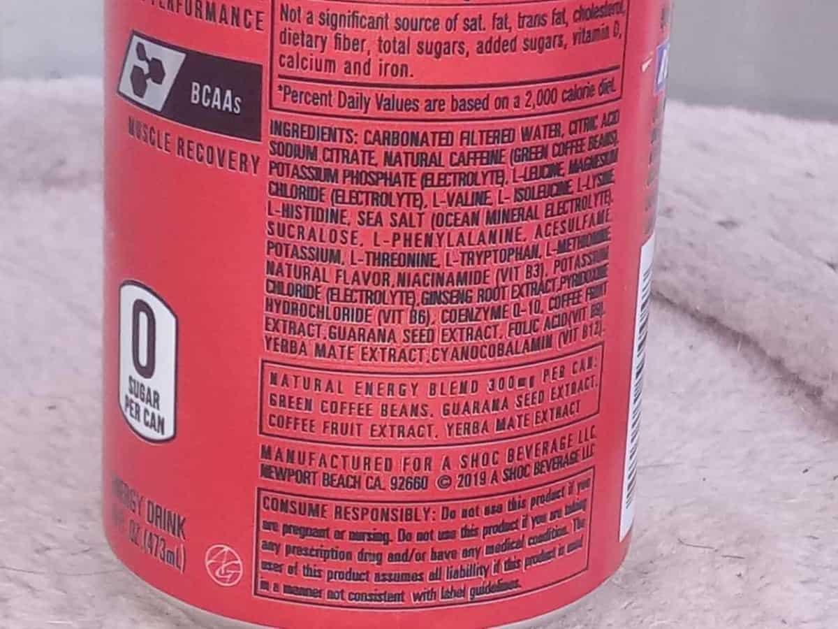 Ingredients of Adrenaline Shoc Energy Drinks