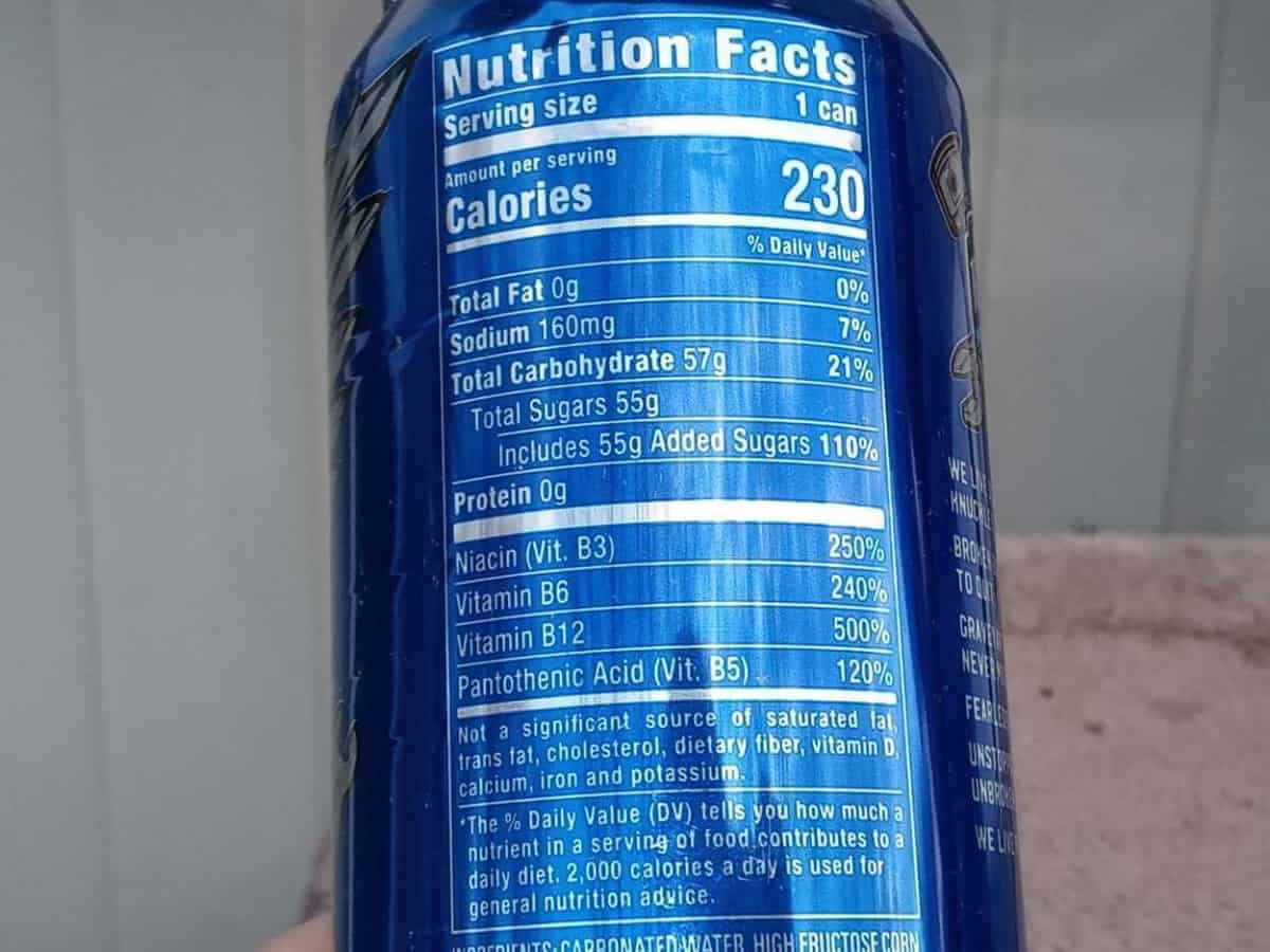 Full Throttle Nutritional facts label