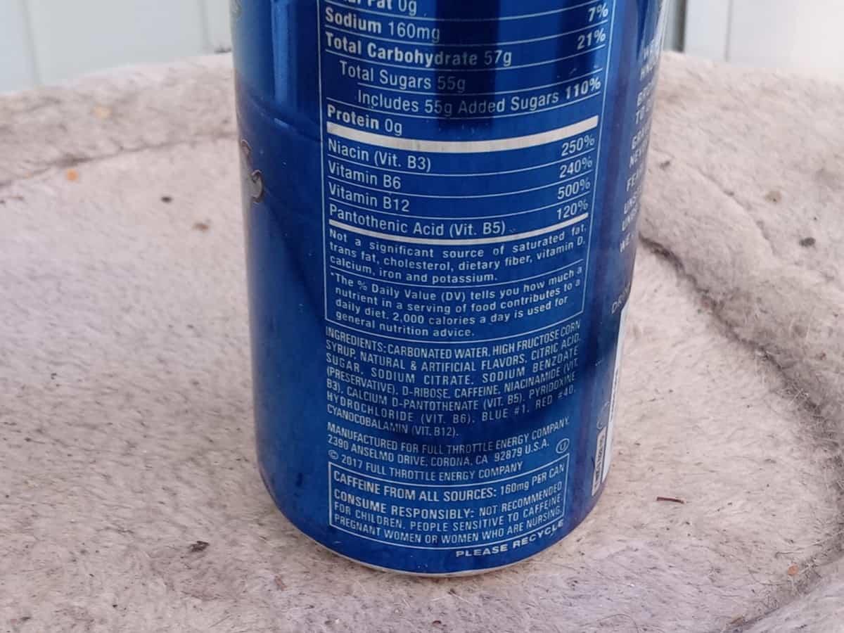 Ingredients of Full Throttle Energy Drinks