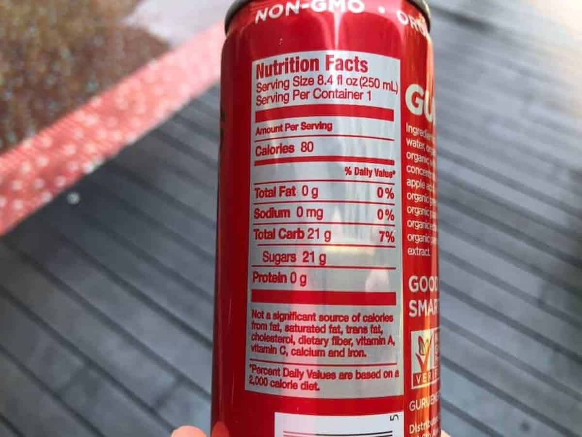 A photo of Guru's Energy drink nutrition facts