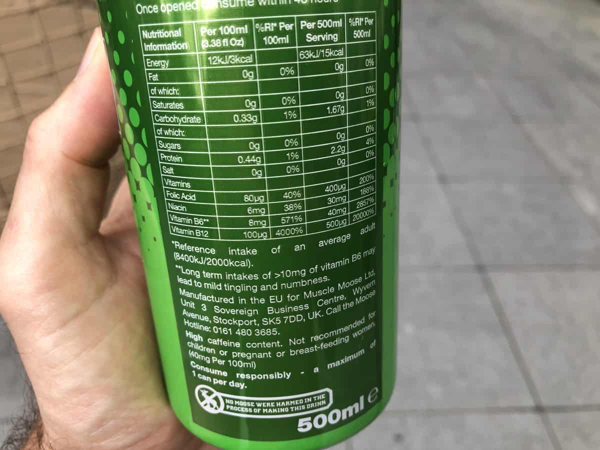 The nutrition label of Moose Juice.