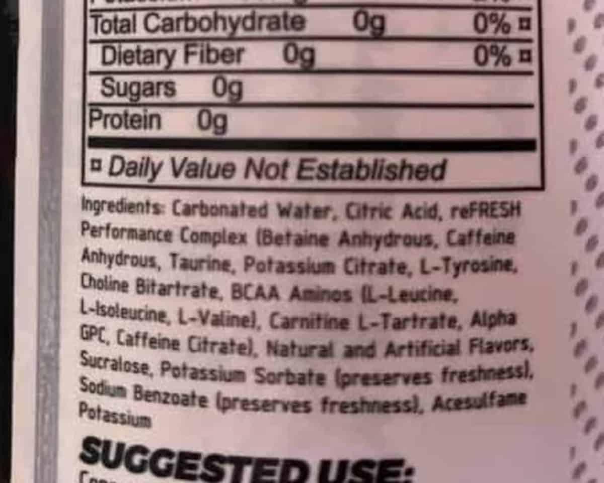 The ingredients of Raze energy drink.