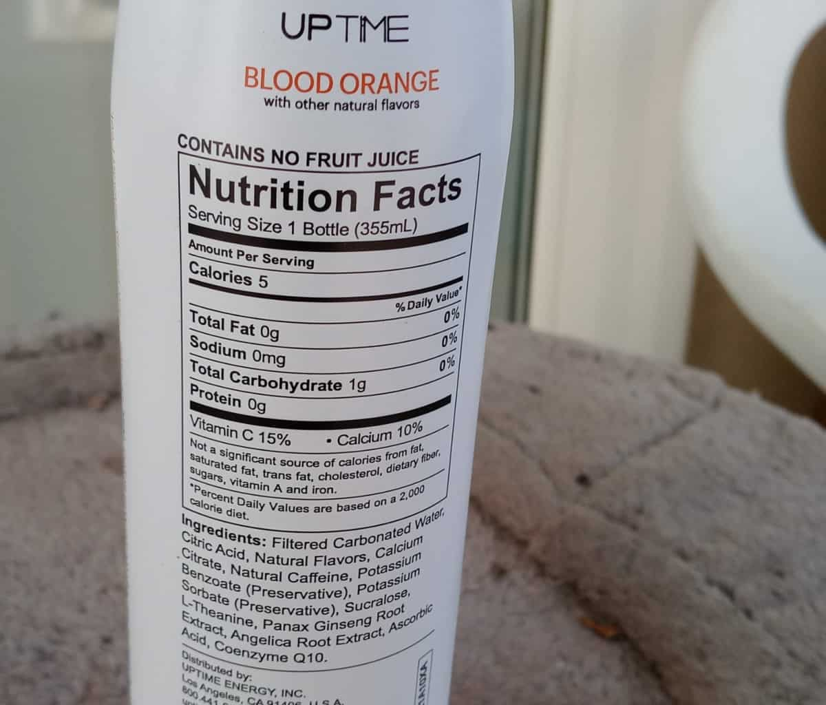 Nutrition facts of Uptime.