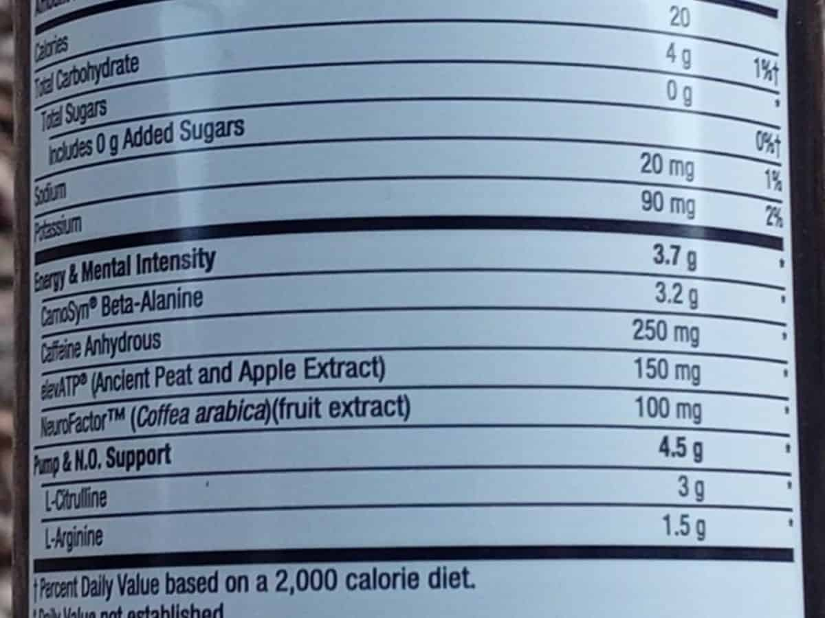 Nutrition facts of Lit energy drink.