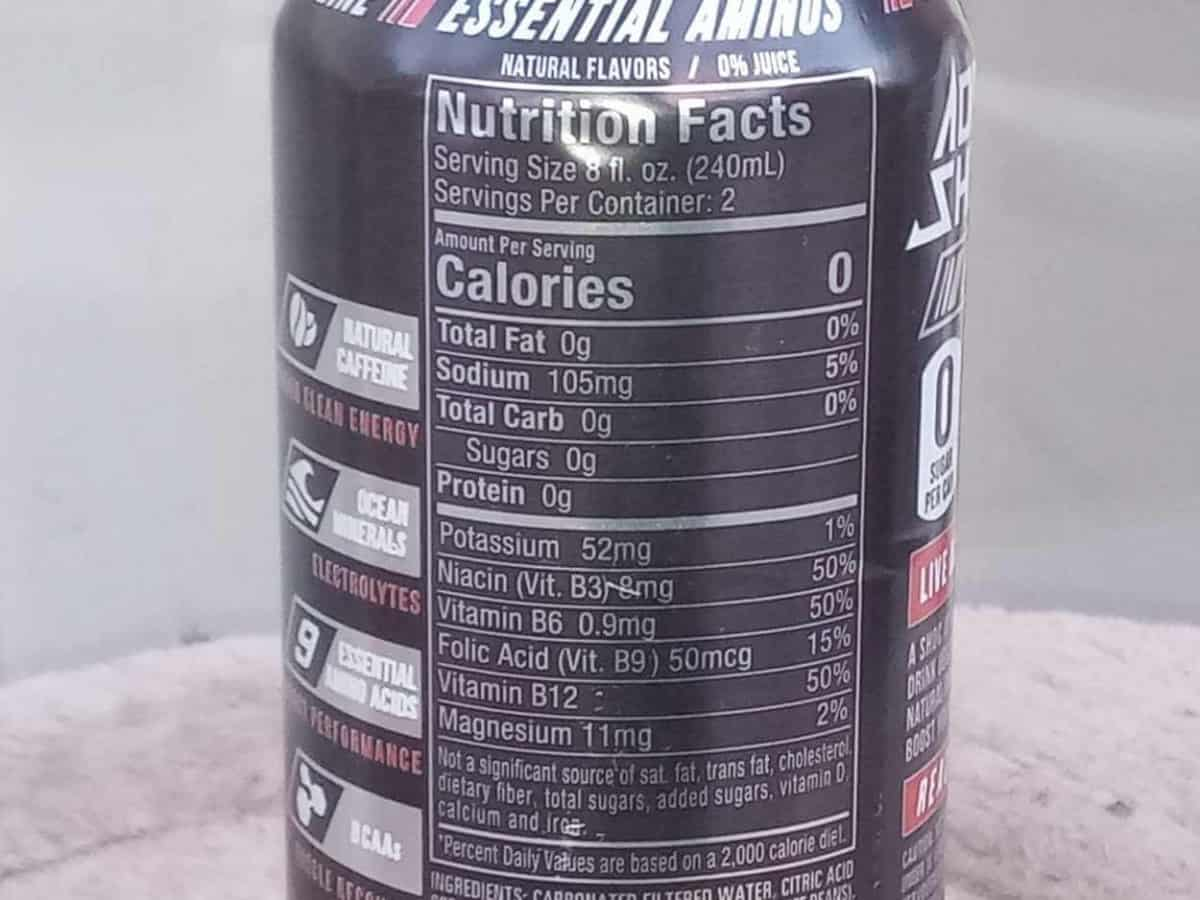 Nutrition facts of Adrenaline Shoc