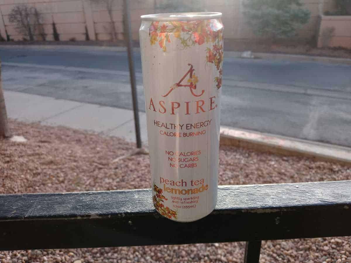 Aspire energy drink in peach tea lemonade