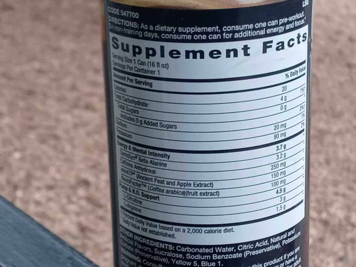 Supplement facts of Lit energy drink