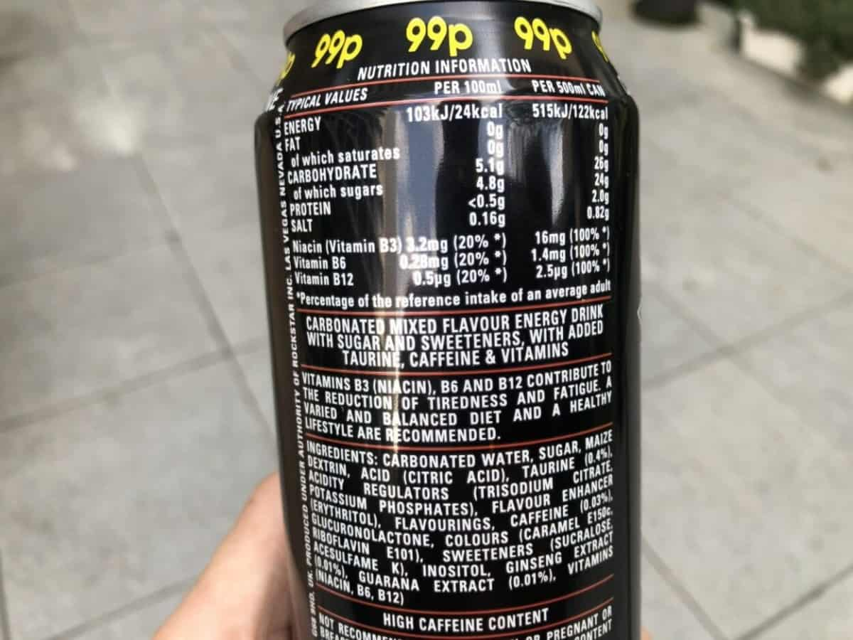Nutrition is used in 16 fl. oz. can.