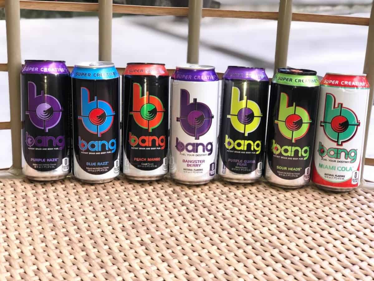 7 cans different flavors of Bang Energy Drinks