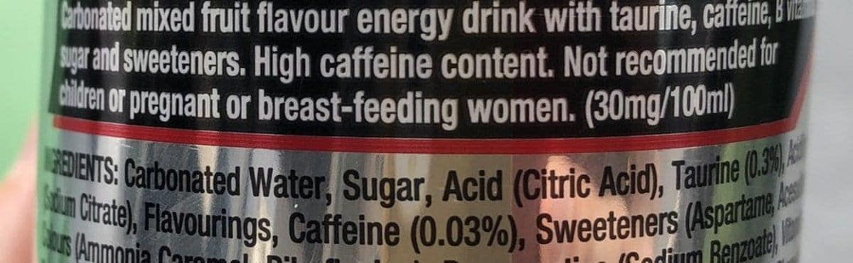 """A photo of """"high caffeine content"""" warning."""