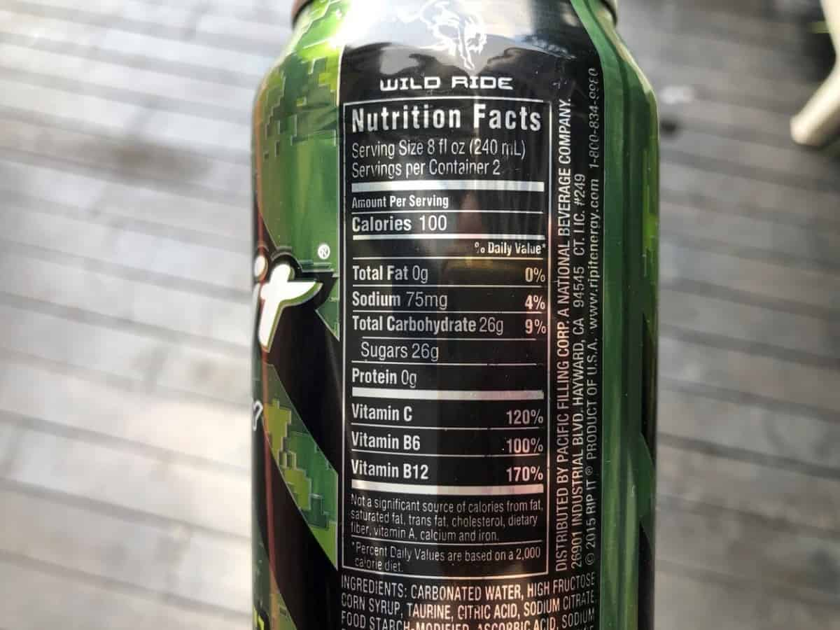 Nutrition facts of Rip It energy drink