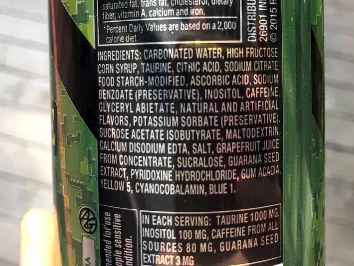 Ingredients of Rip It energy drink