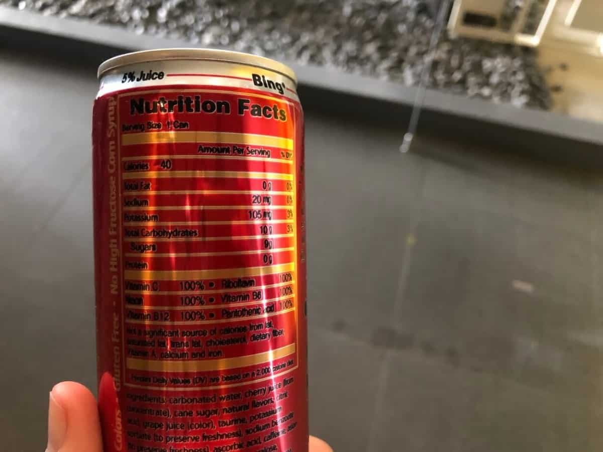 Nutrition facts of Bing energy drink
