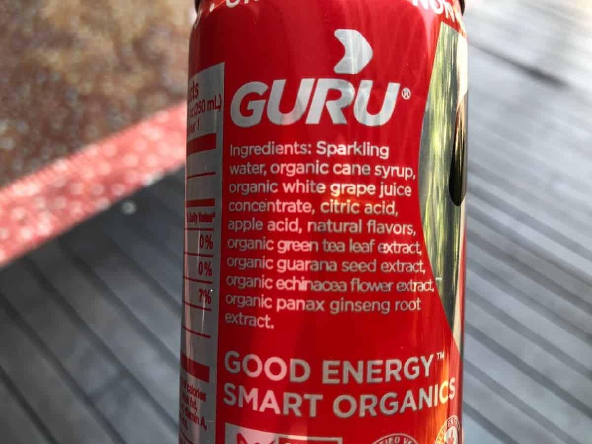 Ingredients of Guru energy drink