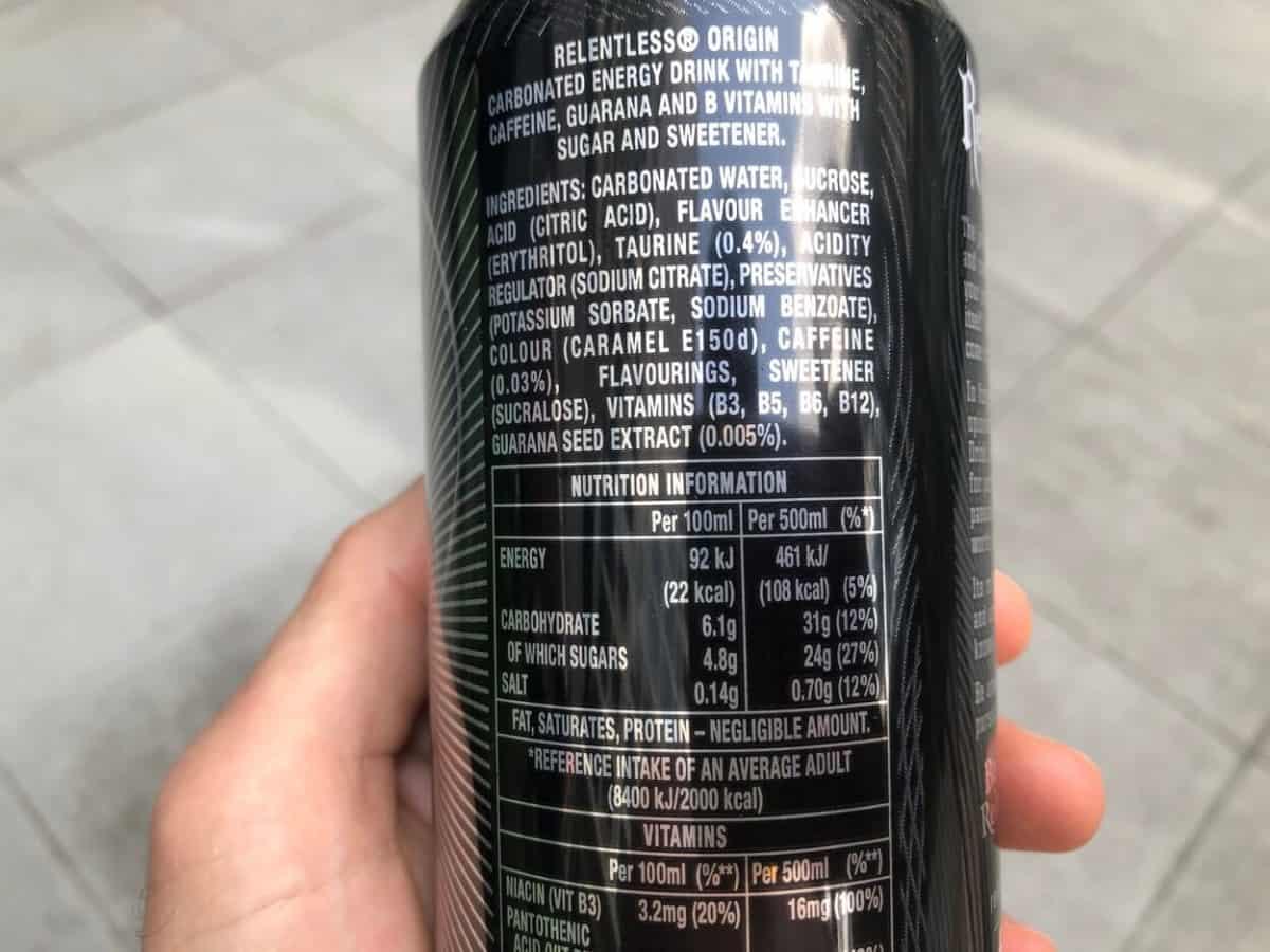 Ingredients of Relentless energy drink