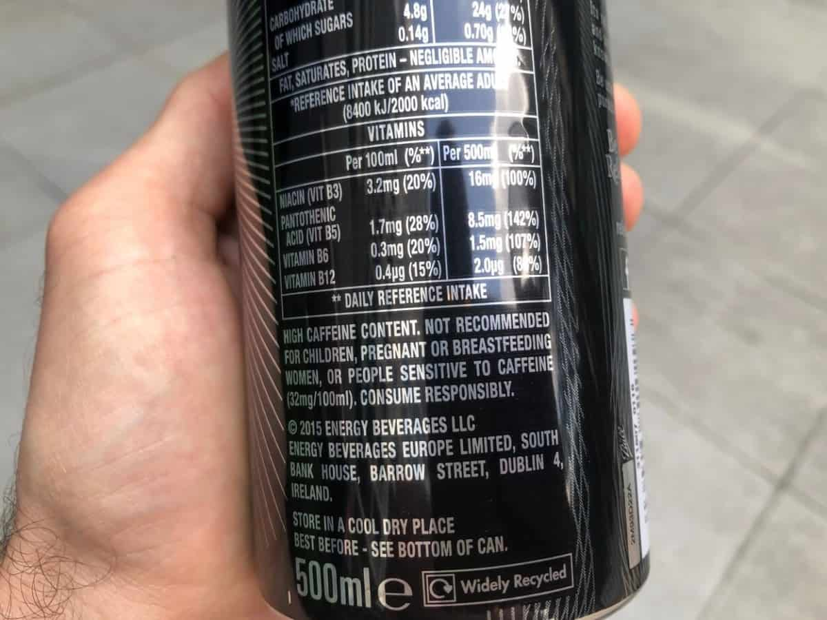 Nutrition facts of Relentless energy drink