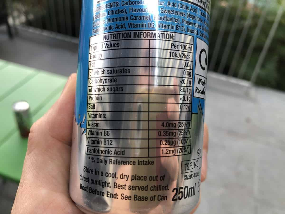 A photo of Nutrition facts at the back of the can.