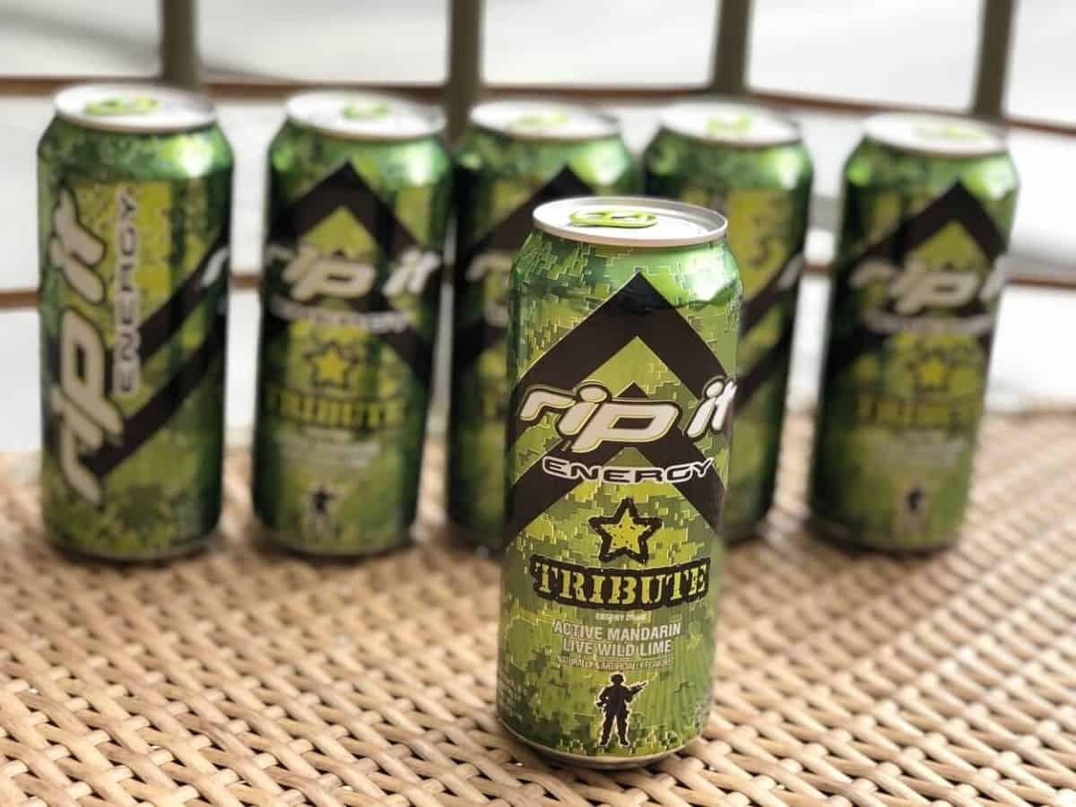 6 cans of Rip It energy drink in a table