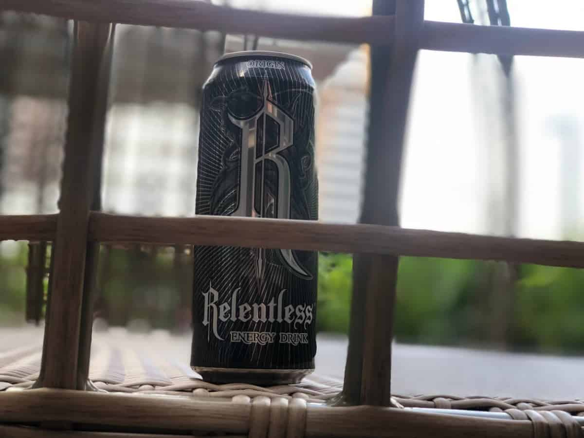 A can of Relentless energy drink