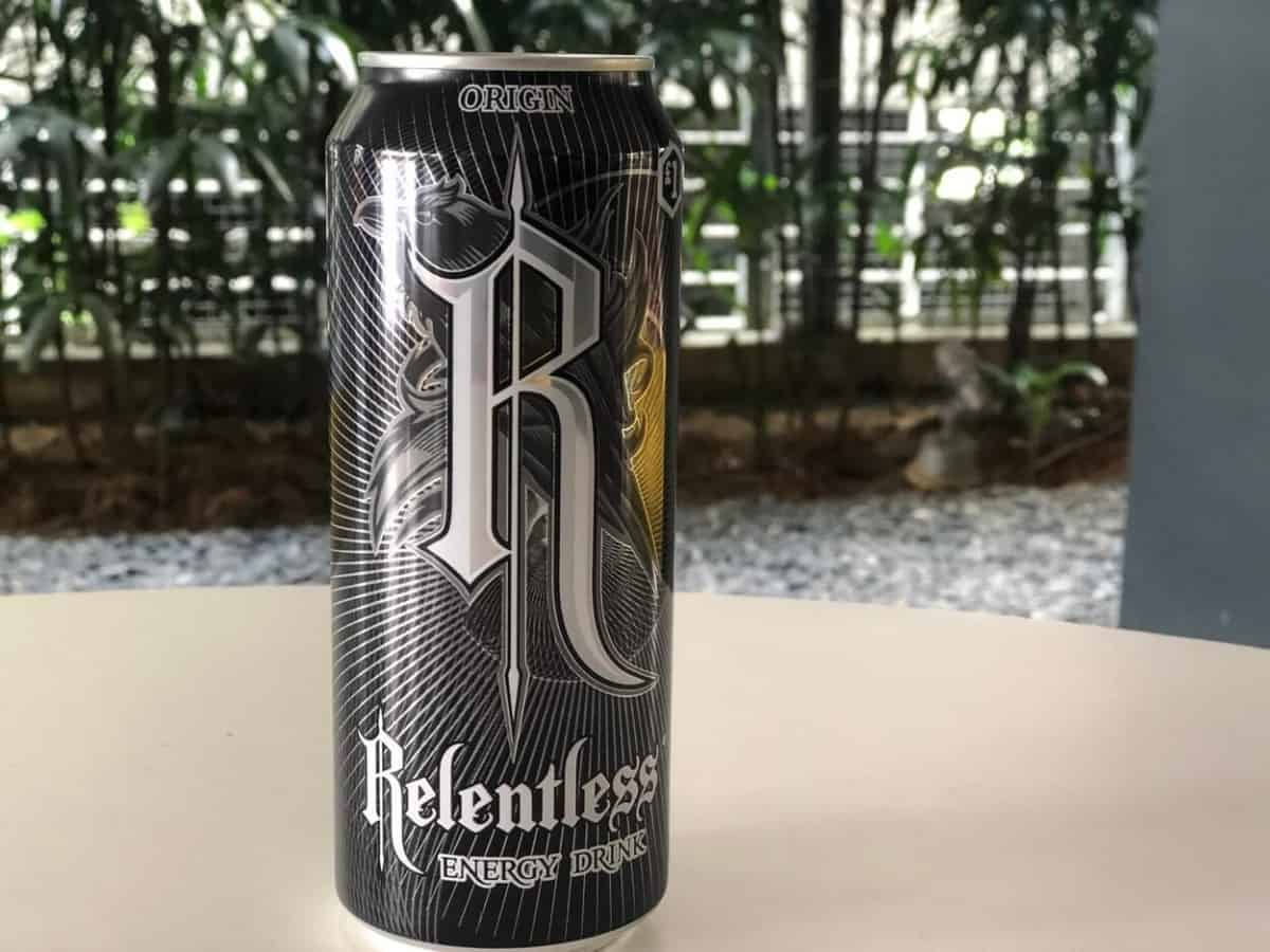 A can of Relenless Energy Drink