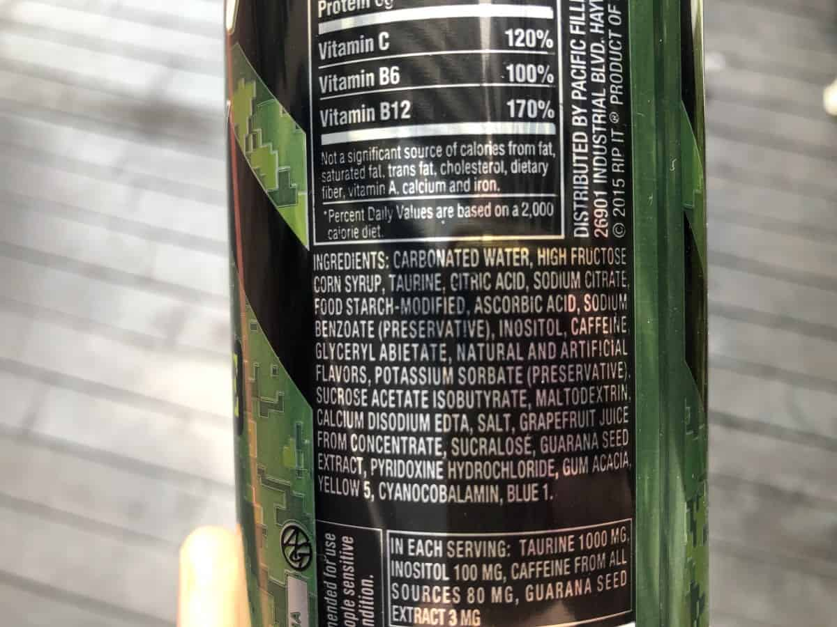 Ingredients of Rip It energy drinks at the back of the can.