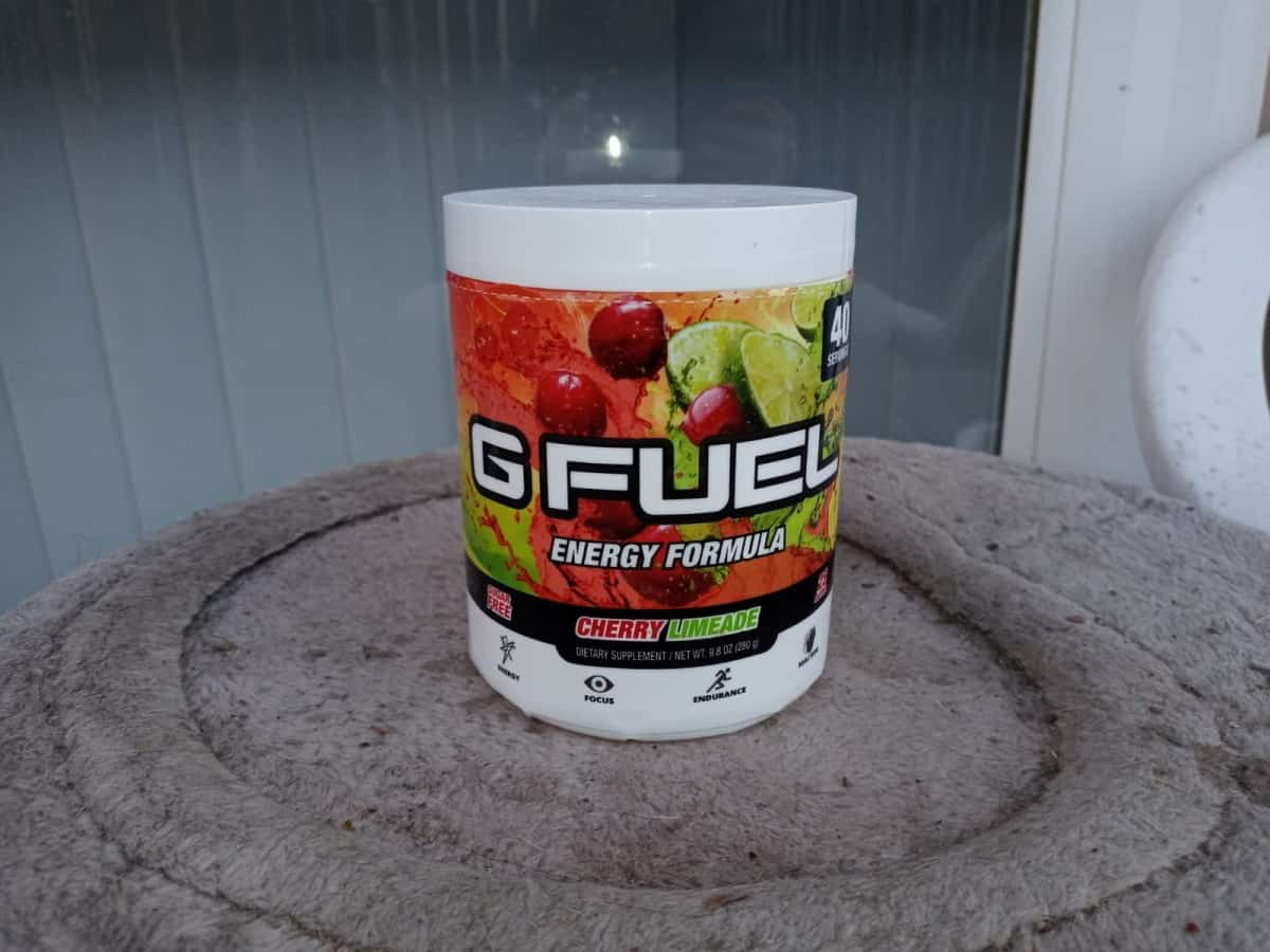 G Fuel Cherry Limeade energy tub in a table
