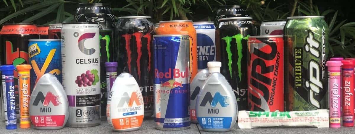 Assorted energy drink brands