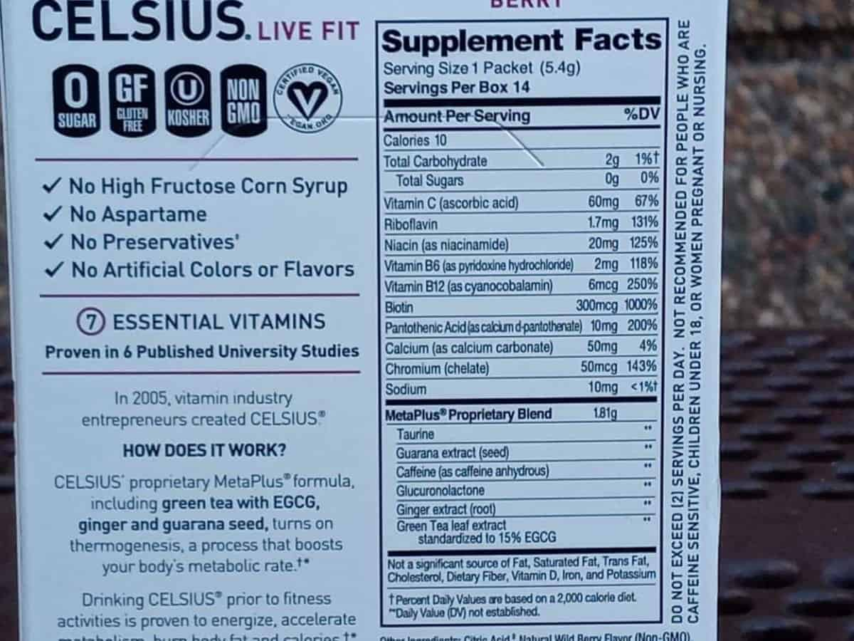 Supplement facts of Celsius On-The-Go