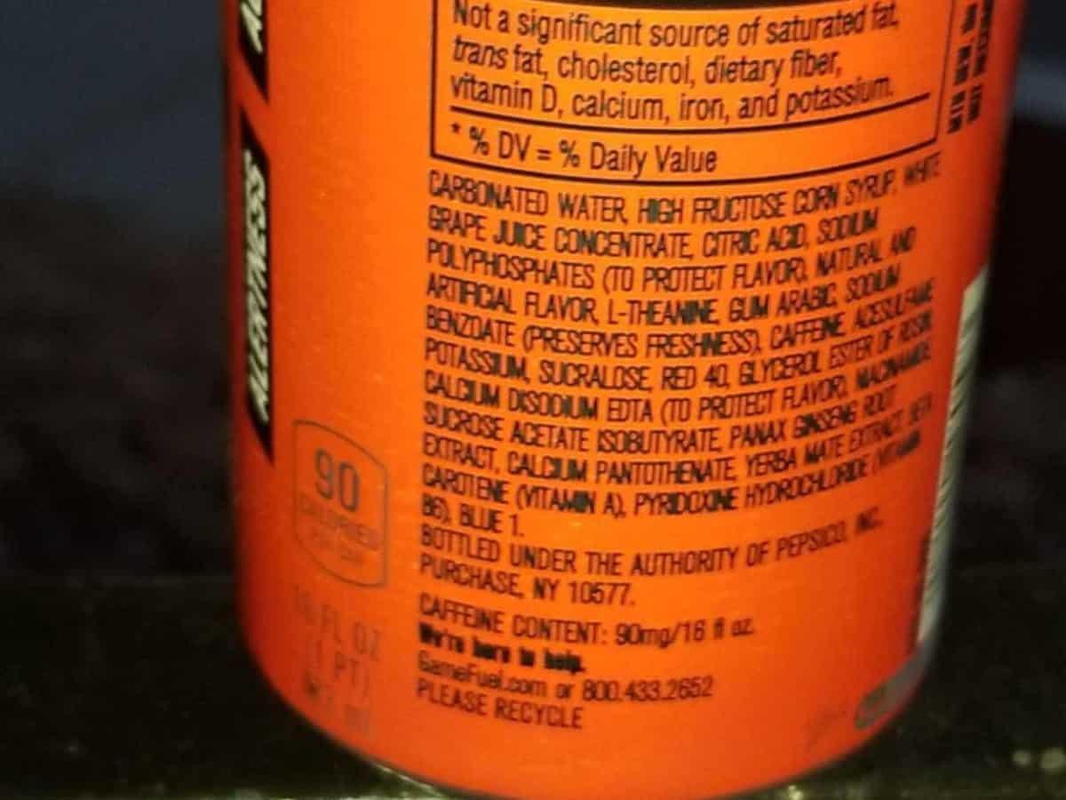 Game Fuel Ingredients.