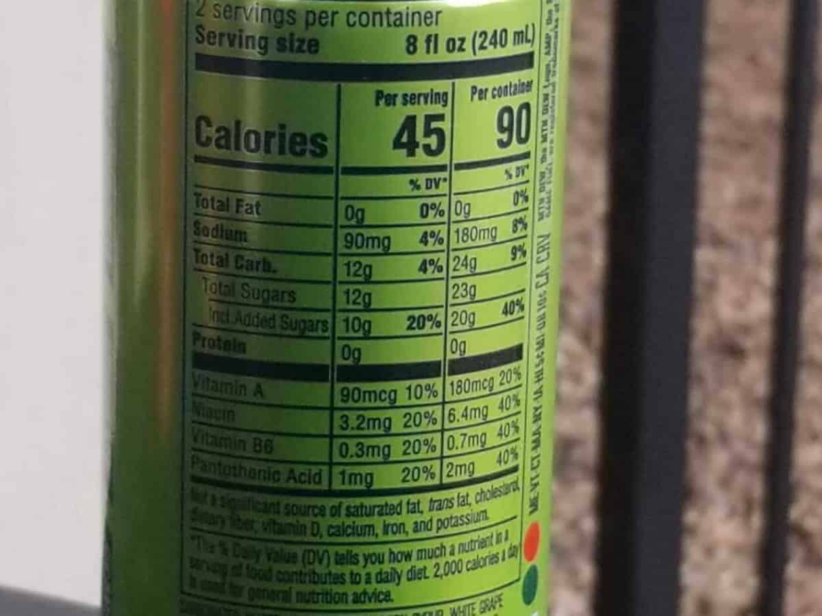 Nutrition facts of Game Fuel