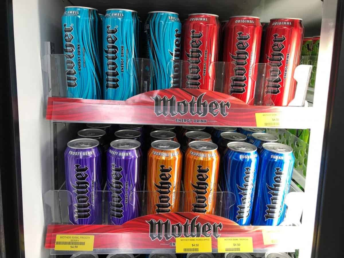 Different flavors of Mother Energy Drink inside the fridge.