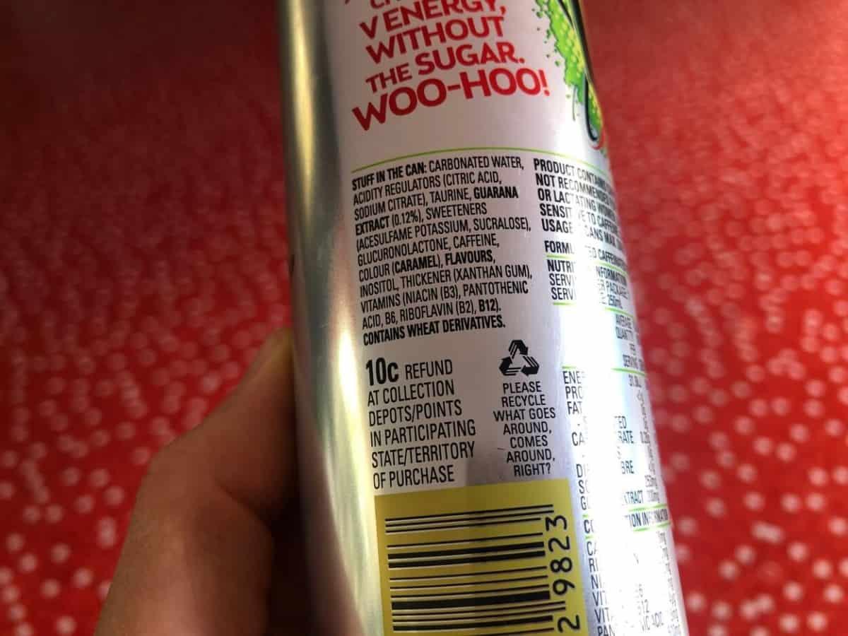 V Energy Sugar-Free ingredients.