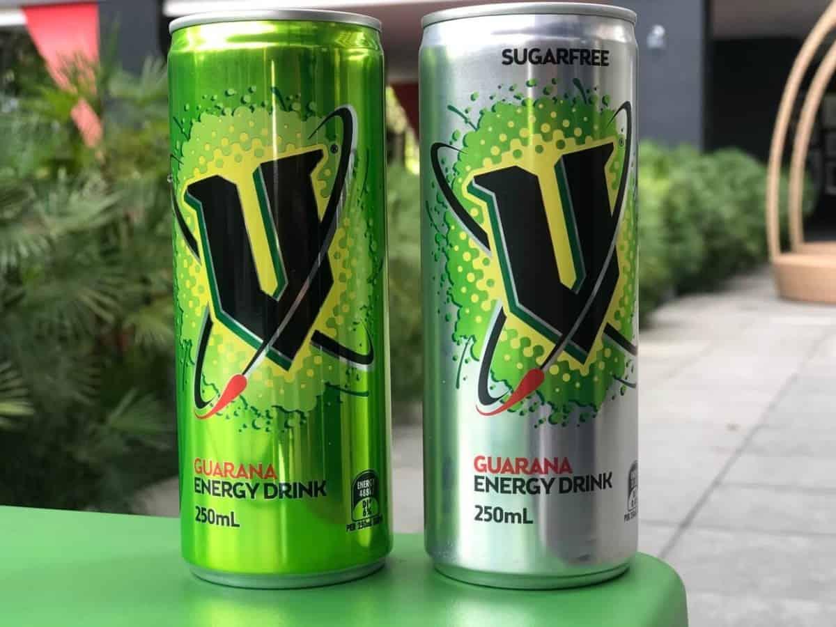 A can of V Energy Original a can of V Energy Sugar-Free.